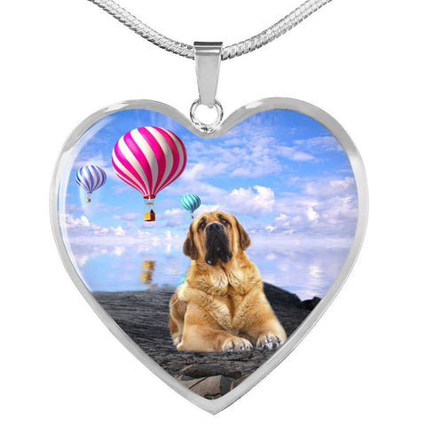 Spanish Mastiff Dog Print Heart Pendant Luxury Necklace-Free Shipping
