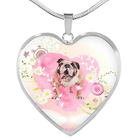 Bulldog Print Heart Charm Luxury Necklace-Free Shipping