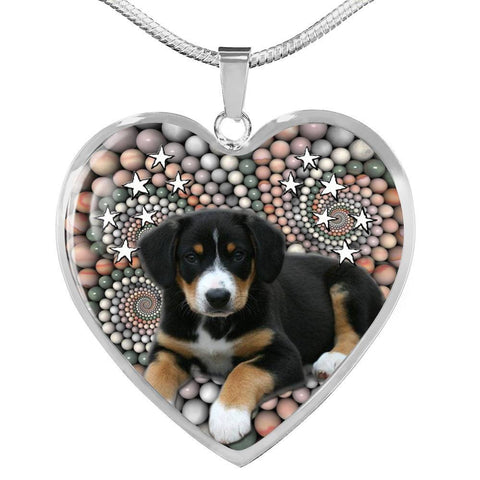 Entlebucher Mountain Dog Print Heart Pendant Luxury Necklace-Free Shipping