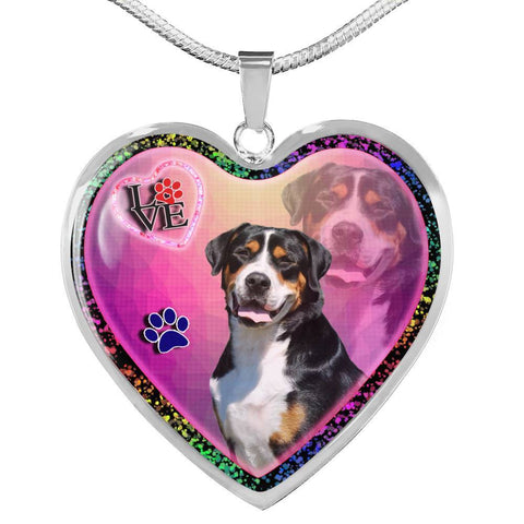 Greater Swiss Mountain Dog Print Heart Charm Necklaces-Free Shipping