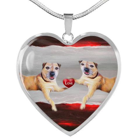 Border Terrier Print Heart Pendant Luxury Necklace-Free Shipping