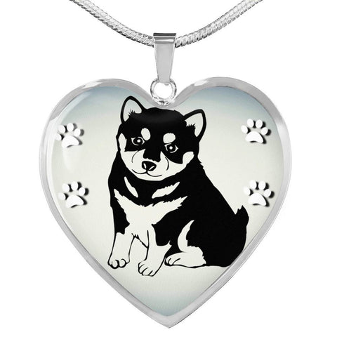 Shiba Inu Dog Print Heart Charm Necklaces-Free Shipping