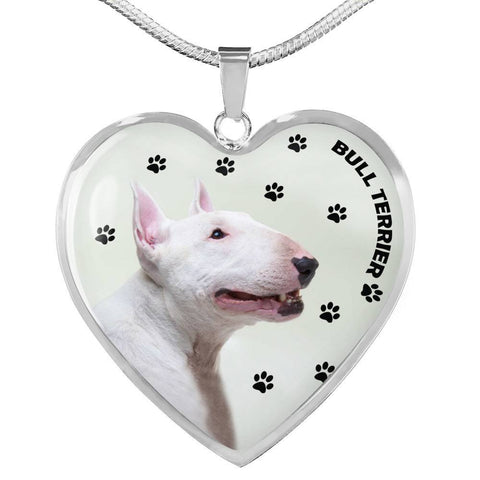 Bull Terrier Print Heart Pendant Luxury Necklace-Free Shipping