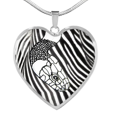 Black&White Snake Print Heart Pendant Luxury Necklace-Free Shipping