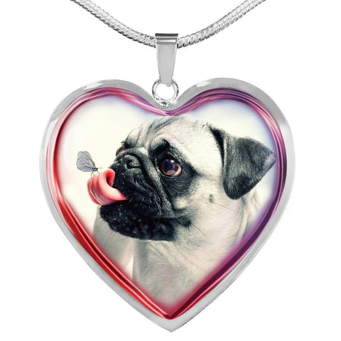 Cute Pug Dog Print Heart Charm Necklaces-Free Shipping