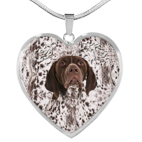 German Shorthaired Pointer Dog Print Heart Pendant Luxury Necklace-Free Shipping