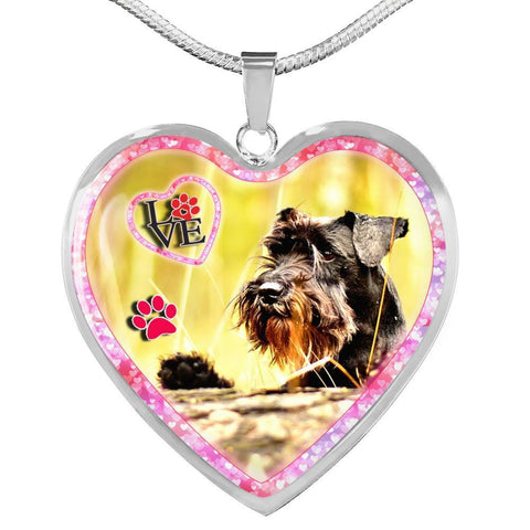 Miniature Schnauzer Dog Print Heart Charm Necklaces-Free Shipping