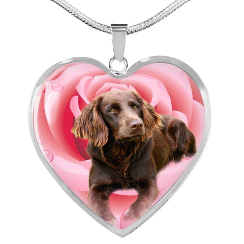 Boykin Spaniel Print Heart Pendant Luxury Necklace-Free Shipping