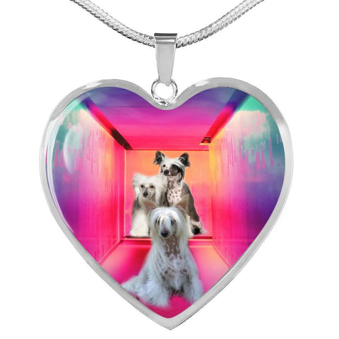 Chinese Crested Dog Print Heart Pendant Luxury Necklace-Free Shipping