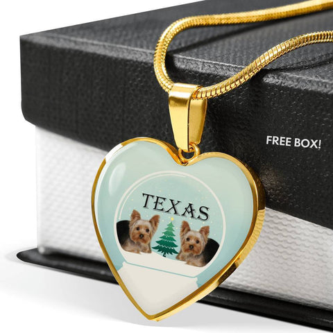 Yorkshire Terrier (Yorkie) Texas Print Heart Charm Luxury Necklace-Free Shipping