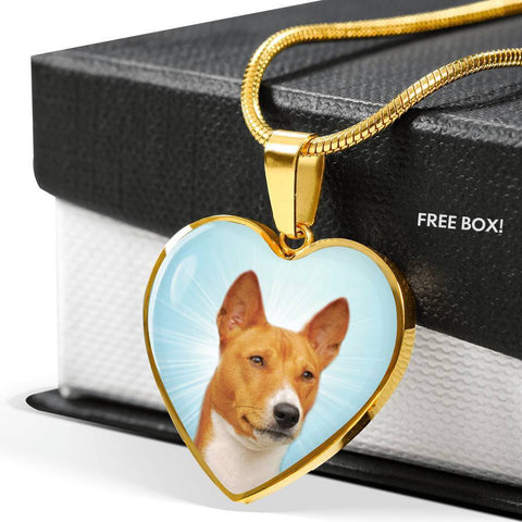 Basenji Dog Print Heart Pendant Luxury Necklace-Free Shipping