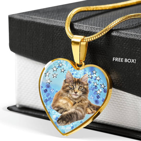Cute Maine Coon Print Heart Pendant Luxury Necklace-Free Shipping