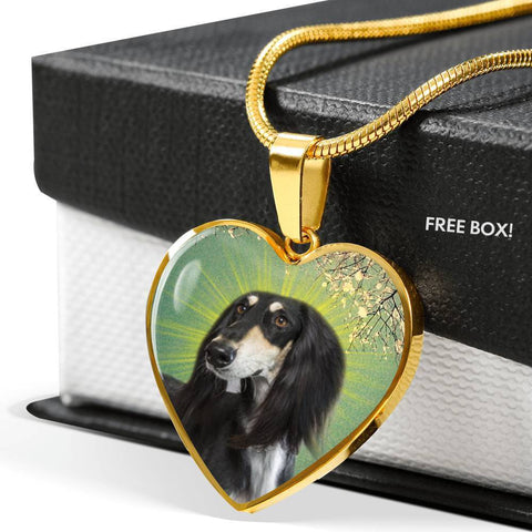 Saluki Dog Print Heart Pendant Luxury Necklace-Free Shipping