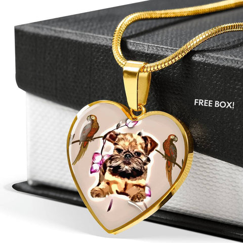 Brussels Griffon Print Heart Pendant Luxury Necklace-Free Shipping