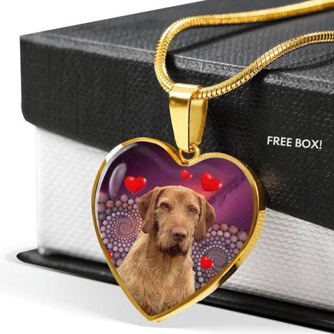 Wirehaired Vizsla Print Heart Pendant Luxury Necklace-Free Shipping