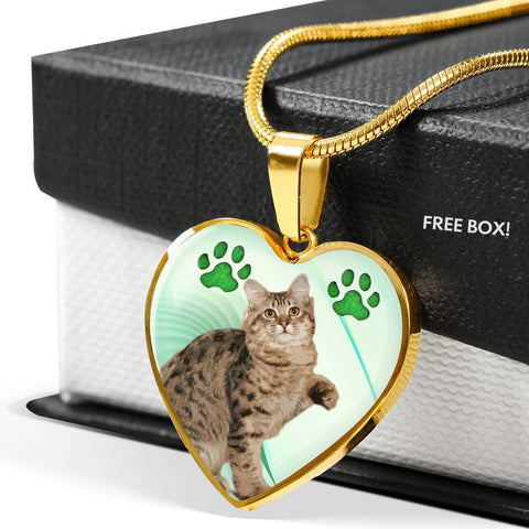 American Bobtail Print Heart Pendant Luxury Necklace-Free Shipping