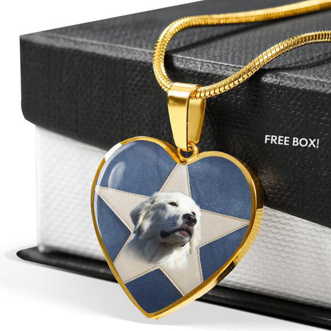 Great Pyrenees Print Heart Pendant Luxury Necklace-Free Shipping