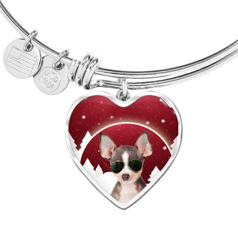 Chihuahua Print Heart Charm Bangle-Free Shipping