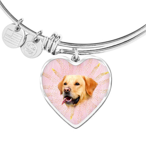 Labrador Retriever Print Heart Pendant Bangle-Free Shipping