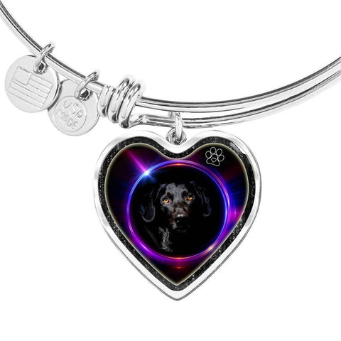Black Labrador Dog Print Heart Pendant Bangle-Free Shipping