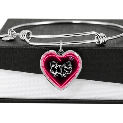 Pekingese Dog Print Heart Pendant Bangle-Free Shipping