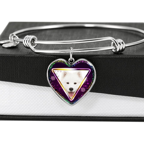Samoyed Dog Print Heart Pendant Bangle-Free Shipping
