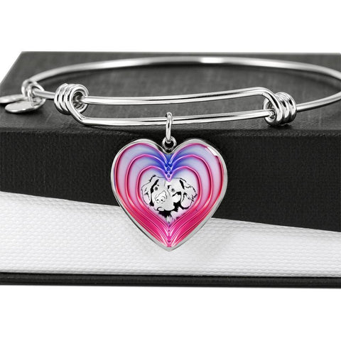 Nova Scotia Duck Tolling Retriever Dog Print Heart Pendant Bangle-Free Shipping