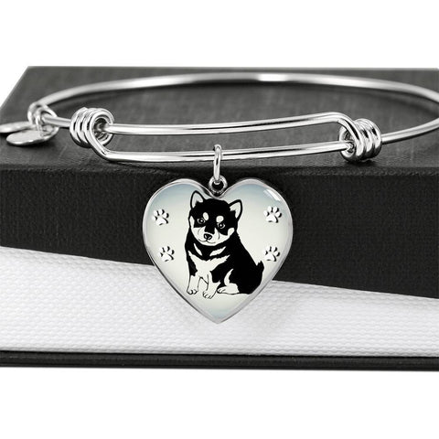 Shiba Inu Dog Print Heart Pendant Bangle-Free Shipping