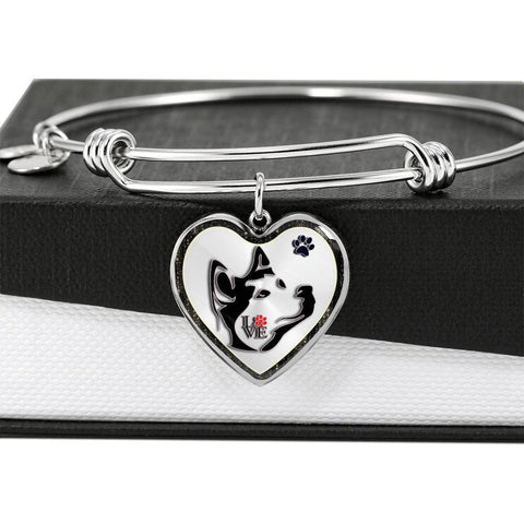 Siberian Husky Dog Art Print Heart Pendant Bangle-Free Shipping