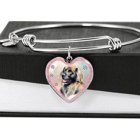 Leonberger Dog Art Print Heart Pendant Bangle-Free Shipping