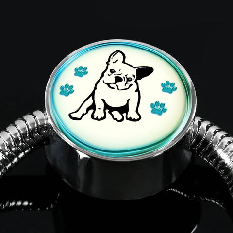 Cute French Bulldog Print Circle Charm Steel Bracelet-Free Shipping