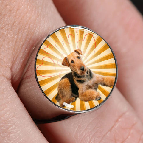 Airedale Terrier Print luxury Signet Ring-Free Shipping