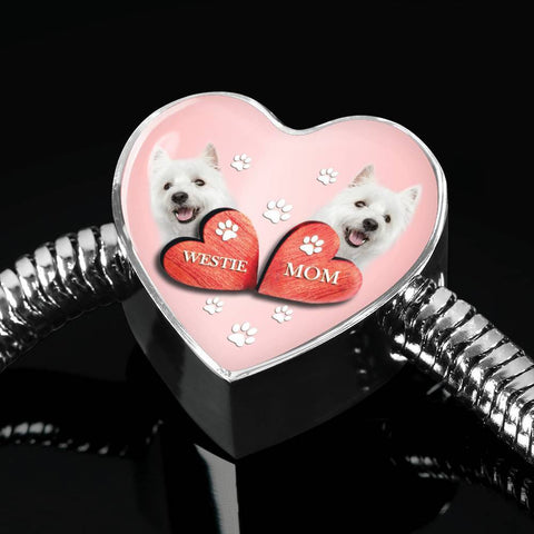 West Highland White Terrier (Westie) Print Heart Charm Steel Bracelet-Free Shipping
