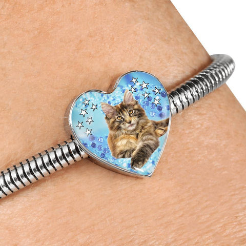 Maine Coon Cat Print Heart Charm Steel Bracelet-Free Shipping