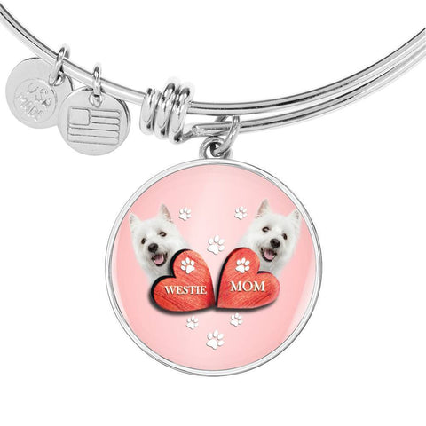 West Highland White Terrier (Westie) Print Circle Charm Bangle-Free Shipping