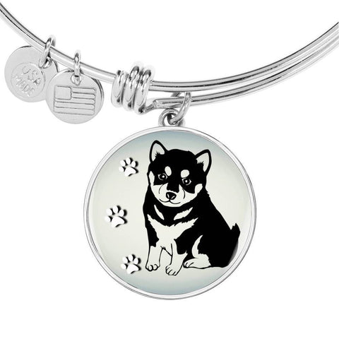 Shiba Inu Dog Circle Pendent Luxury Bangle-Free Shipping