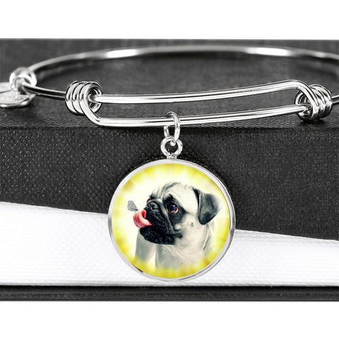 Cute Pug Dog Circle Pendent Luxury Bangle-Free Shipping