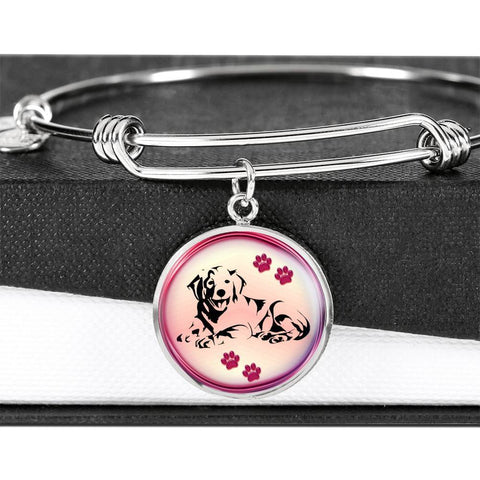 Golden Retriever Dog Circle Pendent Luxury Bangle-Free Shipping
