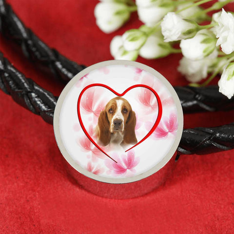Basset Hound Print Circle Charm Leather Bracelet -Free Shipping