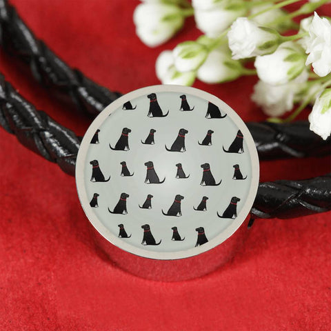Labrador Retriever Pattern Print Circle Charm Leather Bracelet-Free Shipping