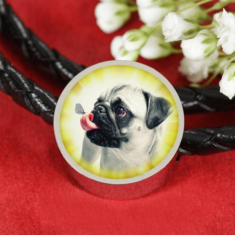 Cute Pug Dog Print Circle Charm Leather Woven Bracelet-Free Shipping