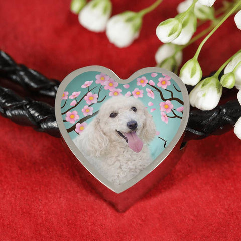 Poodle Dog Print Heart Charm Leather Bracelet-Free Shipping