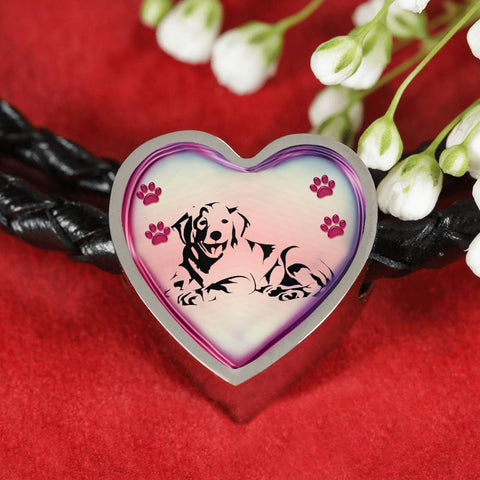 Golden Retriever Dog Print Heart Charm Leather Woven Bracelet-Free Shipping