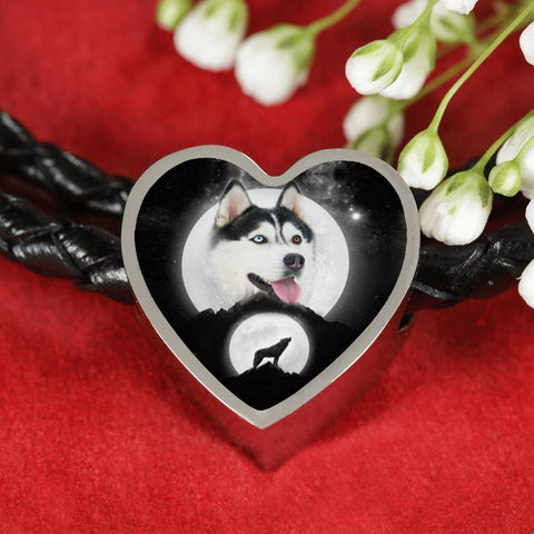 Siberian Husky Dog Print Heart Charm Leather Bracelet-Free Shipping