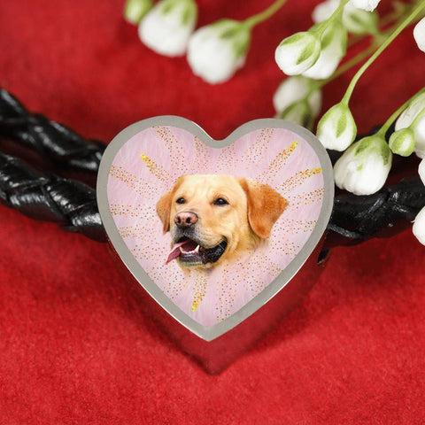 Labrador Retriever Dog Print Heart Charm Leather Woven Bracelet-Free Shipping