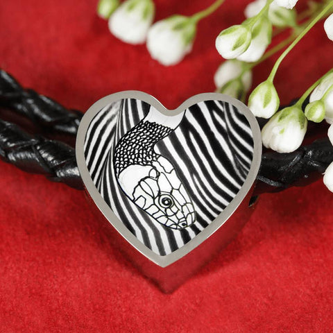 Black&White Snake Print Heart Charm Leather Bracelet-Free Shipping
