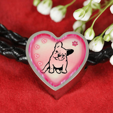 Cute French Bulldog Print Heart Charm Leather Woven Bracelet-Free Shipping