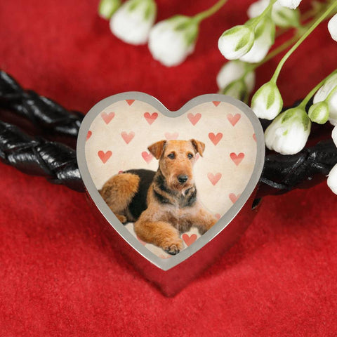 Airedale Terrier Print Luxury Heart Charm Leather Bracelet-Free Shipping