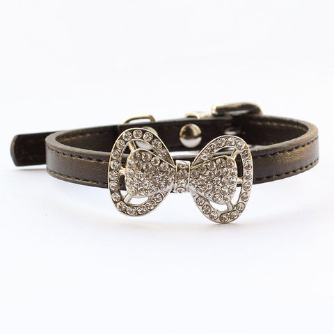 Black / XS Rhinestone Bow Dog Collar