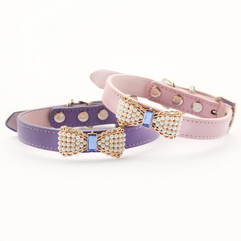 Pearl Bow Dog Collar